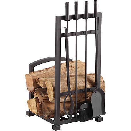 Pleasant Hearth Harper Log Holder with 4 Piece Toolset