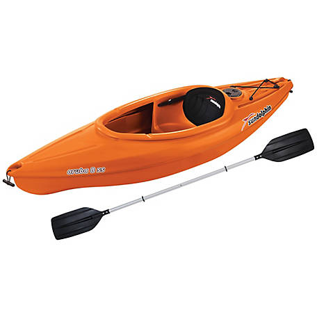 Sun Dolphin Aruba 8 ft. SS Kayak with Paddle, Tangerine, 51605-P