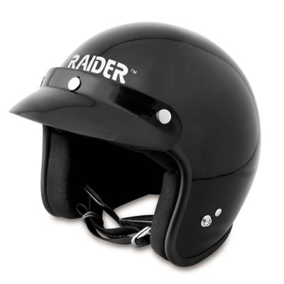 Raider Journey Open Face Helmet; Gloss Black