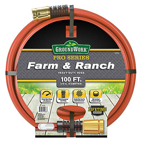GroundWork Pro Series Farm & Ranch Heavy-Duty Hose 3/4 in. x 100', CTSCELCF34100