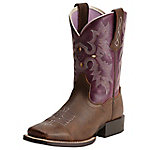 Ariat Kid's 8 in. Tombstone Western Boot, Bomber and Plum