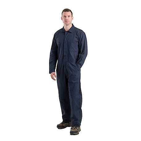 Berne Men's Navy Twill Standard Unlined Long Sleeve Coverall With Leg Zippers