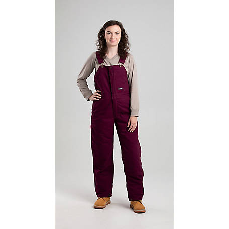 Berne Women's Washed Plum Duck Quilt-Lined Insulated Bib Overall