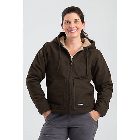 Berne Women's Washed Duck Sherpa-Lined Hooded Coat