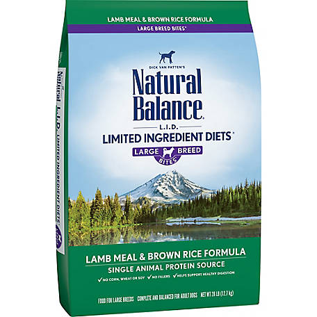Natural Balance Large Breed L.I.D. Limited Ingredient Diets Lamb Meal & Brown Rice Formula Dry Dog Food, 28 lb.