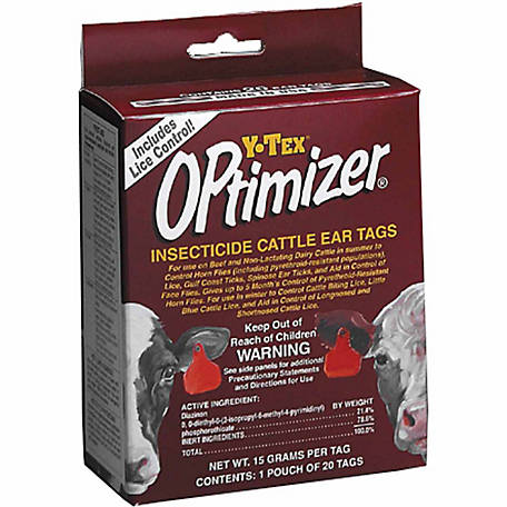 Y-Tex OPTimizer Insect Tag, Combo, Black, Pack of 20
