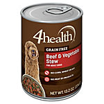 4health Grain Free Beef & Vegetable Stew in Gravy Dog Food, 13.2 oz. Can