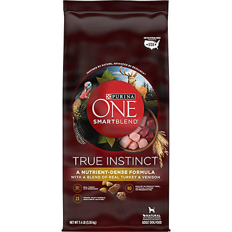 Purina ONE High Protein Natural Dry Dog Food, SmartBlend True Instinct with Real Turkey & Venison, 7.4 lb. Bag