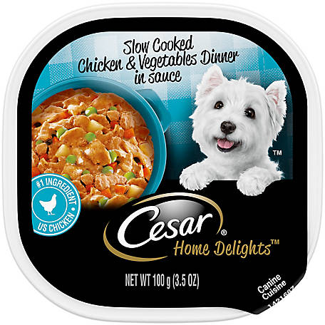 Cesar Home Delights Slow Cooked Chicken & Vegetables Dinner Dog Food Trays, 3.5 oz.