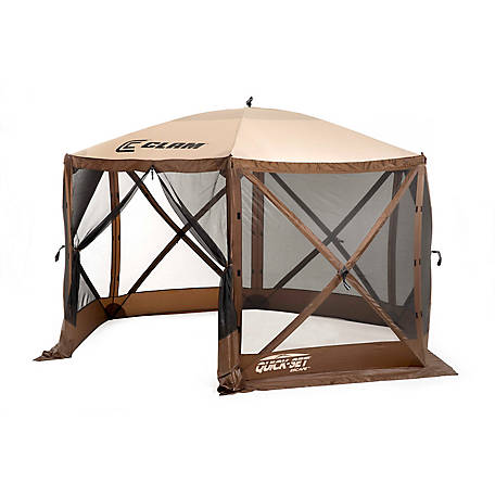 Polar Escape Screen Shelter with Wind Panel Flaps, 6-Sided, Brown/Tan Roof/Black Mesh, 9879