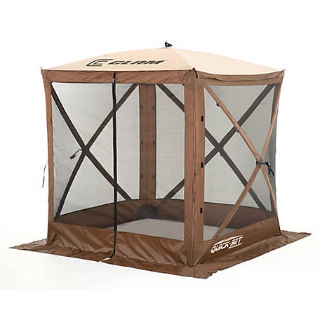 Polar Traveler Screen Shelter, 4-Sided, Brown/Tan Roof/Black Mesh, with Wind Panel Flaps, 9881