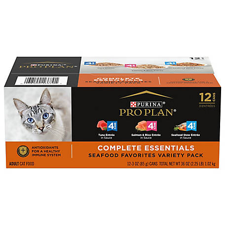 Purina Pro Plan Wet Cat Food Variety Pack; Seafood Favorites - (12) 3 oz. Cans, 2.25 lb.
