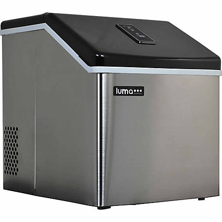 Luma Comfort Portable Clear Ice Maker, Stainless Steel & Black