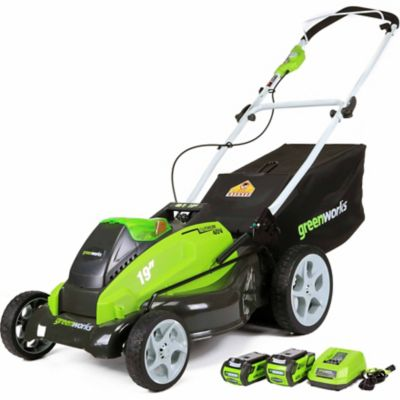 GreenWorks G-MAX 40V 19-Inch Cordless Lawn Mower with 2 Batteries and a Charger