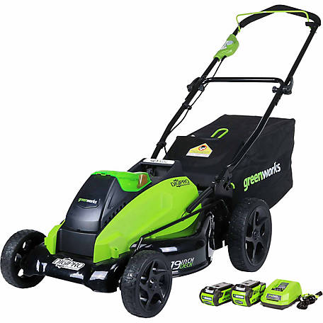 GreenWorks DigiPro G-MAX 40V 19-Inch Cordless Lawn Mower with 4AH Battery and Charger