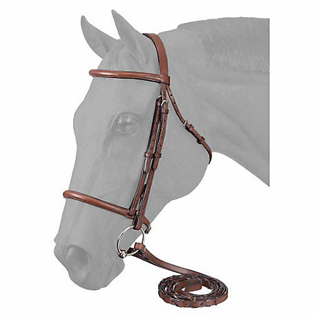Tough-1 Premium Leather Raised Snaffle Bridle with Laced Reins, Full