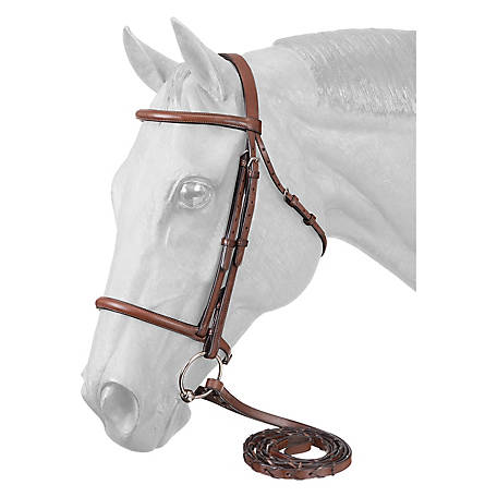 Tough-1 Premium Leather Raised Snaffle Bridle Fancy Stitched with Laced Reins Cob, Full