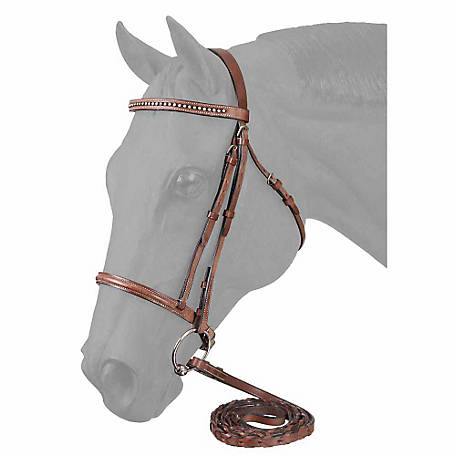 Tough-1 Raised Snaffle English Bridle with Clear Mini Stone Crystals