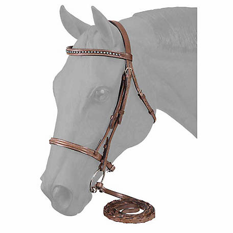 Tough-1 Raised Snaffle English Bridle with Small Blue Stone Crystals