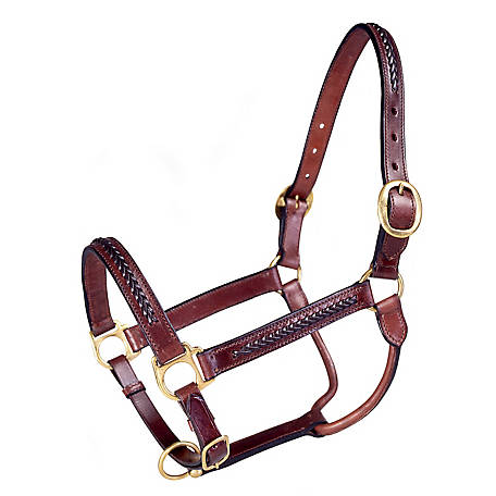 Tough-1 Braided Leather Halter, Horse, Brown