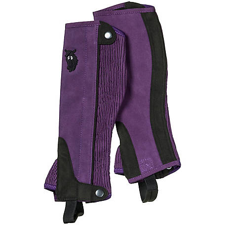 Tough-1 Girl's Synthetic Luxury Suede Half Chaps with Embroidered Horsehead