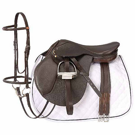 Tough-1 Regency Close Contact Saddle Package, Padded Flap, English