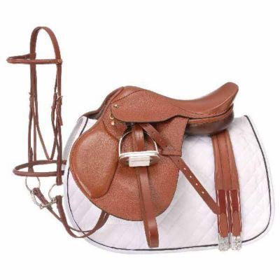 Tough-1 Regency Close Contact Saddle Package; Padded Flap; English