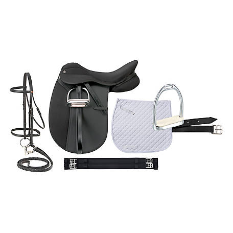 Tough-1 Pro Am Dressage Synthetic Saddle Package, English