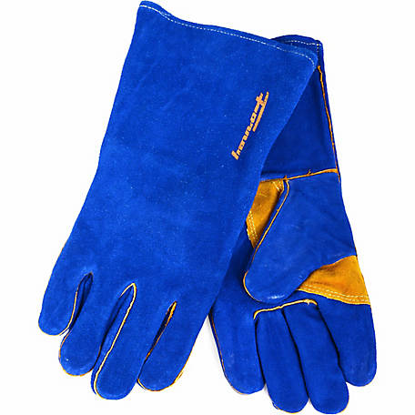 Forney Men's Blue Leather Heavy Duty Welding Gloves with Reinforced Thumb