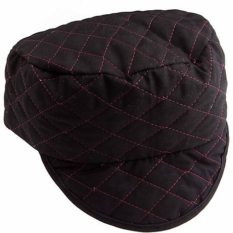 Forney 55854 Black Quilted Skull Cap with Red Lining, 7-1/4 in.