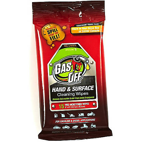 Briggs and Stratton Gas Off Hand & Surface Cleaning Wipes, Pack of 15