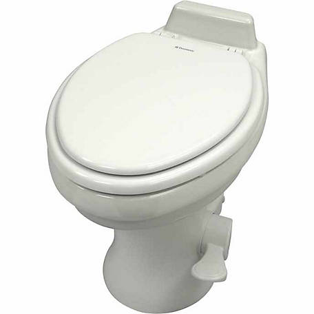 Dometic High Profile 320 Series Gravity Discharge Toilet with Hand Sprayer, White