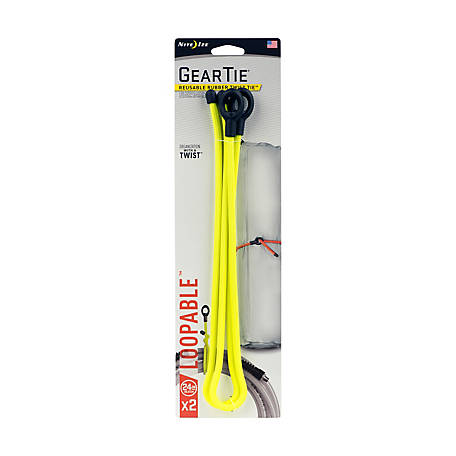 Nite Ize Gear Tie Loopable Twist Tie, 24 in., Neon Yellow, Pack of 2