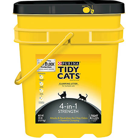 Tidy Cats Clumping Litter 4-in-1 Strength for Multiple Cats, 35 lb. Pail