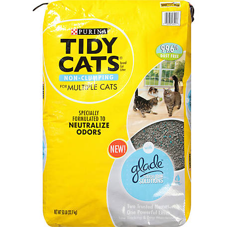 Purina Tidy Cats With Glade Tough Odor Solutions Clear Springs Cat Litter, 50 lb. Bag