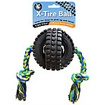 Pet Qwerks Large Jingle X-Tire Ball, Single Rope