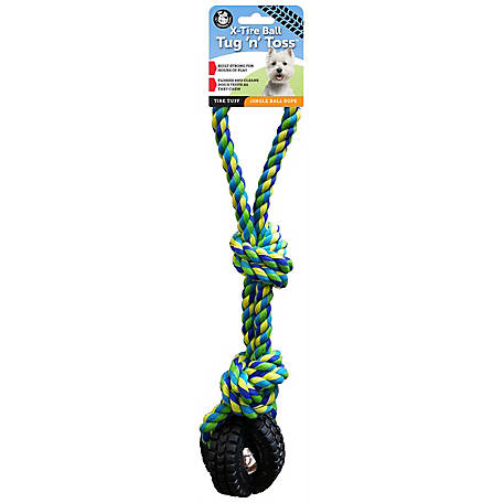 Pet Qwerks Small Jingle X-Tire Ball, Tug & Toss
