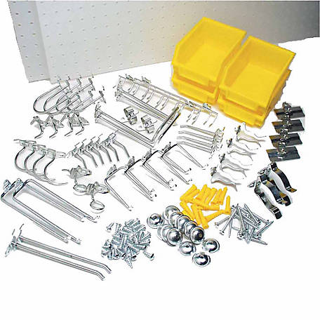 DuraBoard Polypropylene Pegboard Kit with 48-piece DuraHook Assortment, Hanging Bin System & Wall Mounting Hardware