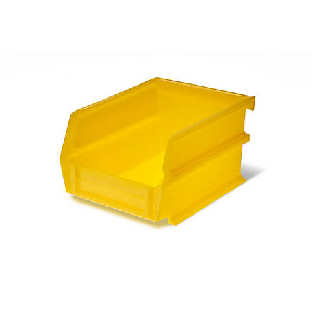 LocBin Yellow Stacking, Hanging, Interlocking Polypropylene Bin, 5-3/8 in. L x 4-1/8 in. W x 3 in. H, Pack of 24