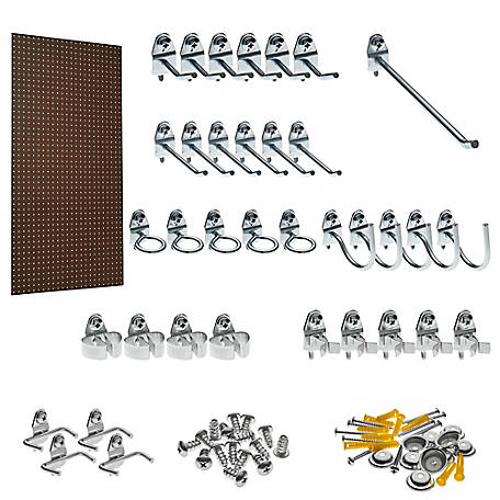 Tempered Wood Heavy-Duty Commercial Grade Pegboard with 36 -piece Locking Hook Assortment