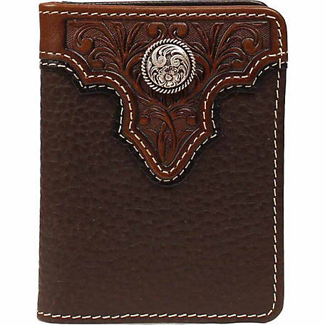 Ariat Leather Bifold Flip-case Wallet, Brown