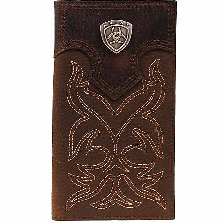 Ariat Leather Rodeo Wallet with Stitching and Ariat Concho, Brown