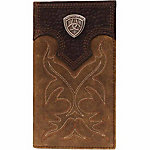Ariat Distressed Leather Rodeo Wallet with Stitching and Ariat Concho, Medium Brown