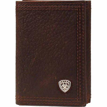 Ariat Leather Trifold Wallet with Ariat Concho, Brown