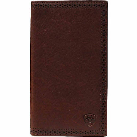 Ariat Leather Rodeo Wallet with Embossed Ariat Shield, Dark Copper