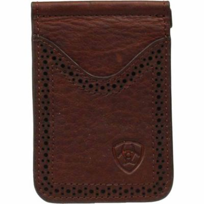 Buy Ariat Leather Card Case and Money Clip; Dark Copper Online