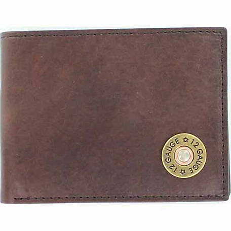 Nocona Leather Bifold Flip-Case Wallet with 12-Gauge Concho