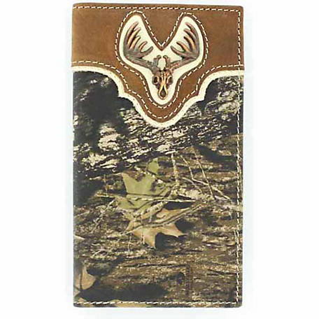 Nocona Leather Rodeo Wallet with Deer Skull
