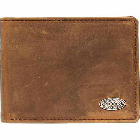 Nocona Distressed Leather Bifold Flip-case Wallet with Nocona Concho