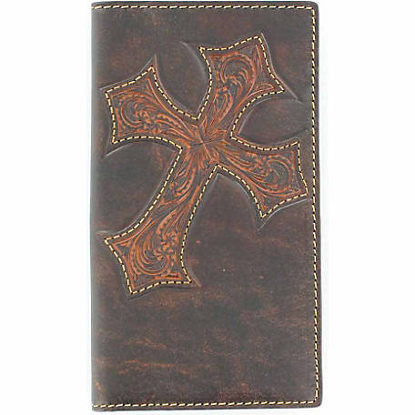 Nocona Distressed Leather Rodeo Wallet with Embossed Cross Design